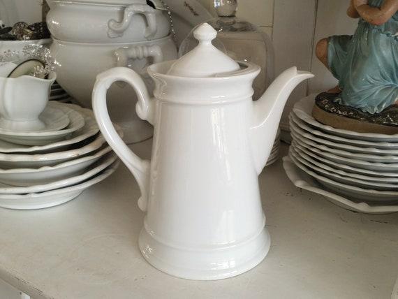 Alte Kaffeekanne Große Antike Kanne Shabby Weiß Vintage Brocante