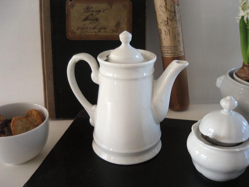 Alte Kaffeekanne Porzellan Biedermeier Shabby Weiß Vintage Brocante