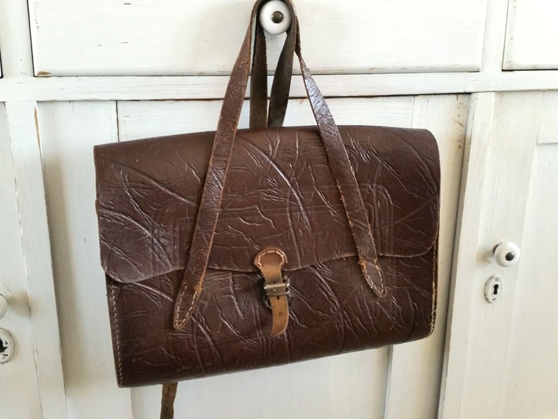 vintage brown antique tornister leather Old school bag brocante