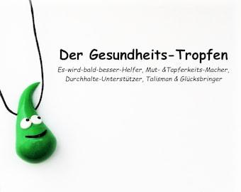Glücksbringer Gesundheits-Tropfen in grün / Geschenk zur Genesung