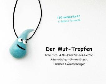 Glücksbringer Mut-Tropfen eiskristall-blau / Talisman / Geschenke für Männer