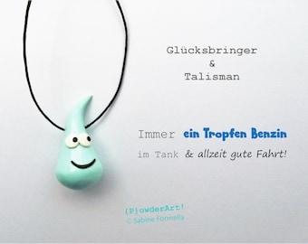 Glücksbringer Ein Tropfen Benzin & gute Fahrt in mint / Talisman + Schutzengel