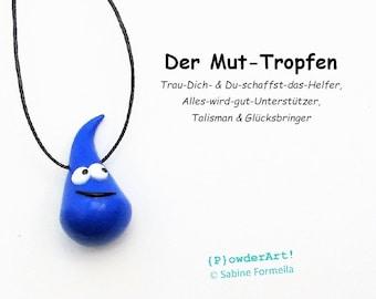 Glücksbringer Mut-Tropfen in oceanblau / Talisman / Geschenk für Männer, Frauen und Kinder
