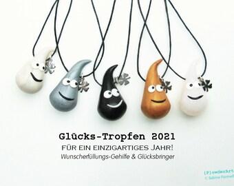 Glücks-Tropfen 2021 mit Kleeblatt-Anhänger / Glücksbringer + Talisman / für neues Jahr