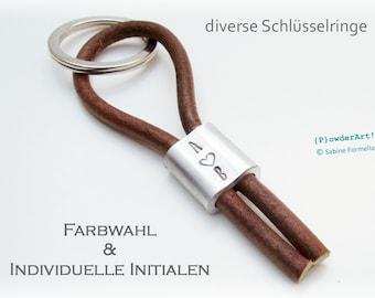 Schlüsselanhänger Vintage Leder + Monogramm / personalisierter Anhänger zum Vatertag