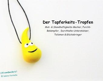Glücksbringer Tapferkeits-Tropfen in gelb / Geschenke beste Freundin