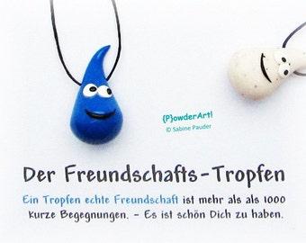Freundschafts-Tropfen in  mittelblau / Geschenk für beste Freundin / Glücksbringer
