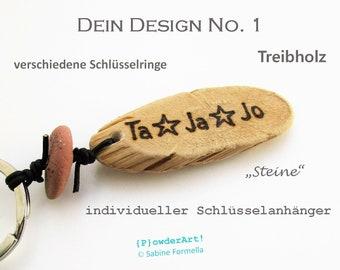 personalisierter Schlüsselanhänger mit Gravur / Treibholz / Geschenke für ihn