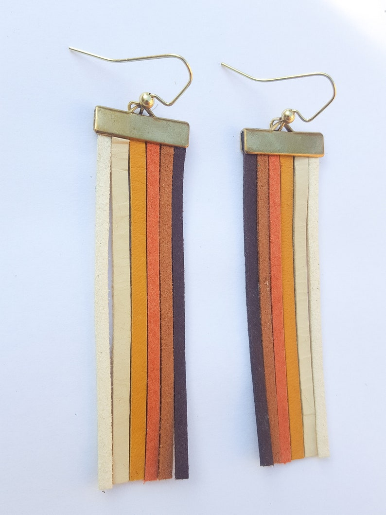 Vintage Style Jewelry, Retro Jewelry 70s Long leather multi-colored fringe earrings - vintage earrings tassel earrings vintage fashion $22.00 AT vintagedancer.com
