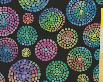 "Patchwork fabric ""Brilliance"" black colorful"