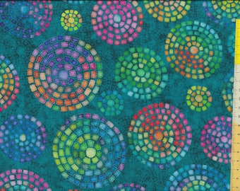 """Patchwork fabric """"Brilliance"""" emerald colorful"""