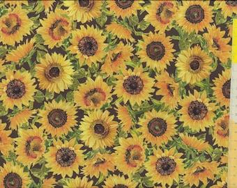 "Patchwork fabric ""Fall Splendor"" sunflowers on a dark brown background"