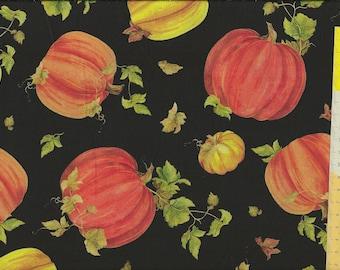 """Patchwork fabric """"Fall Splendor"""" Pumpkin, pumpkin on a black background"""