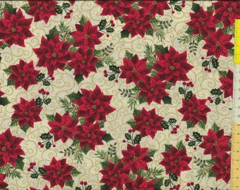 """Christmas fabric """" Holiday Charm """", poinsettia with gold, on beige ground"""