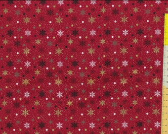 """Christmas fabric """" Holiday Charm """", stars, ice crystals with gold, on a red background"""