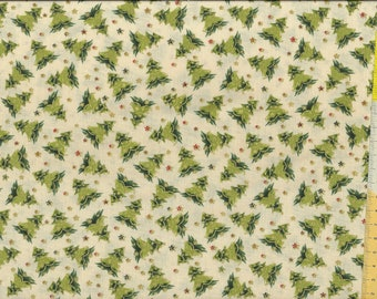 """Christmas fabric """" Holiday Charm """", Fir trees, Christmas trees with gold, on beige ground"""