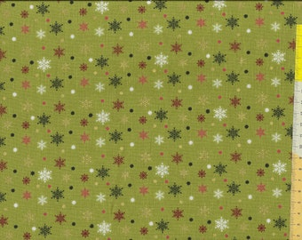 """Christmas fabric """" Holiday Charm """", stars, ice crystals with gold, on a green background"""