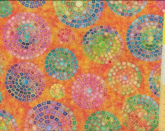 "Patchwork fabric ""Brilliance"" orange colorful"