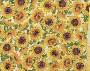 "Patchwork fabric ""Fall Splendor"" sunflowers on a light background"