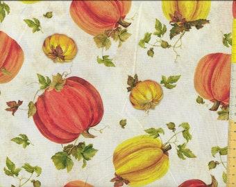 """Patchwork fabric """"Fall Splendor"""" Pumpkin, pumpkin on a light background"""
