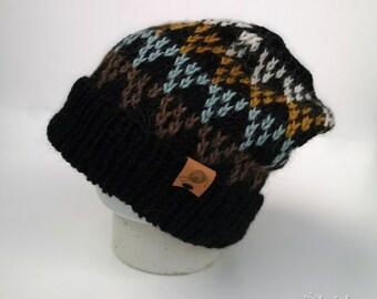 Alpaca jacquard cap, wool