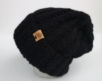 Hat black, merino with alpaca