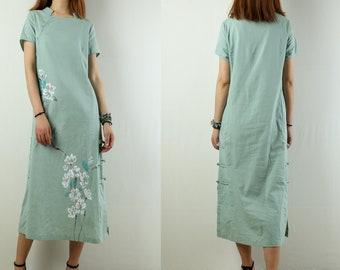 6f0bdf84263 Women s light green cotton linen dress Chinese cheongsam plus size  oversized casual customized dress short sleeve dress spring dress(Q1924)