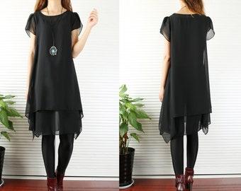 b7ff56da0b9e Women s layered chiffon tunic dress chiffon top black tunic top loose fit  dress (Y1709)