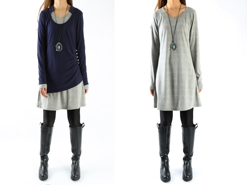 Women's cotton layered tunic dress setdark blue grey dressasymmetrical topplus size oversized shirtcasual customized t shirt(Q1702)