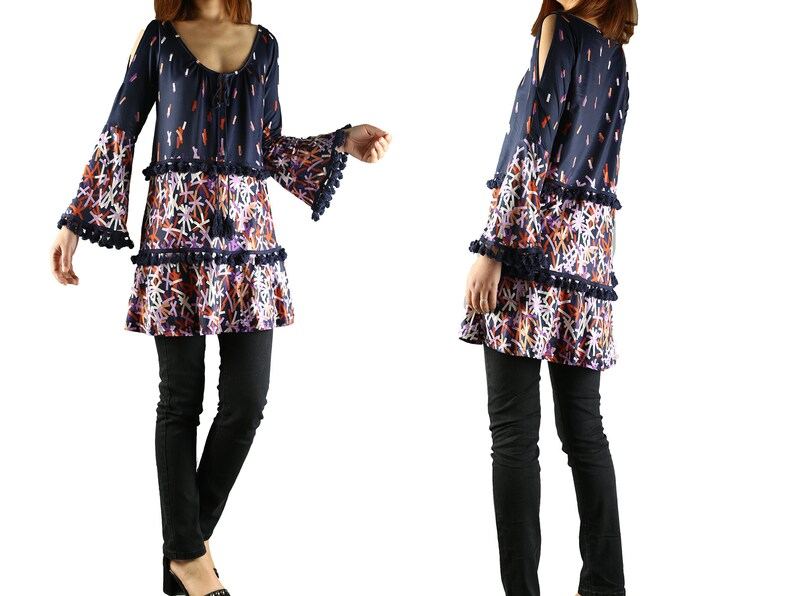 Y1923 Women/'s Extravagant sleeves tunic dressbell sleeve topdark blue tunic dress