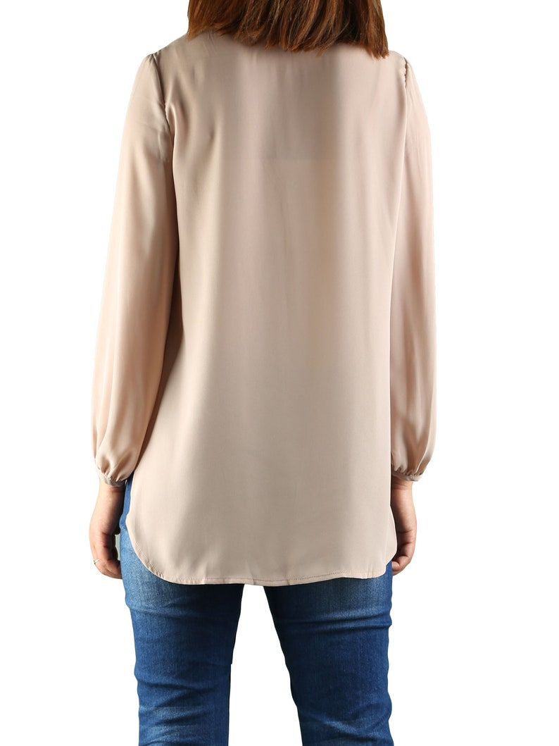 Women/'s fashion draping chiffon topV-neck chiffon blouse t-shirtlong sleeve top Plus size Oversized casual customized Asymmetry Y1925