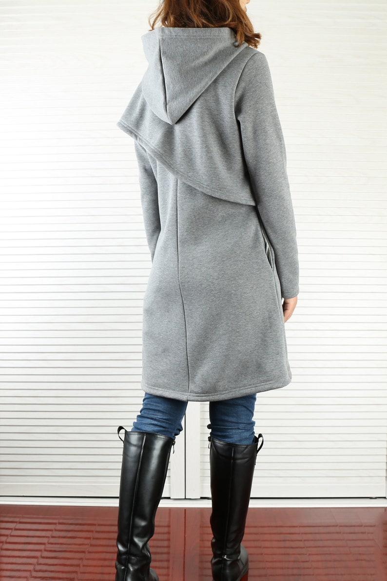 Women/'s asymmetrical thick cotton fleece hoodieplus size jacketoversized dressblack grey dresscasual customized coat shirt Y3120