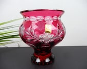 red NIGHT MAN VASE, BLEIKRISTALL flower vase, crystal vase cut with tiames as windlight, vintage gift to collector, glass decoration