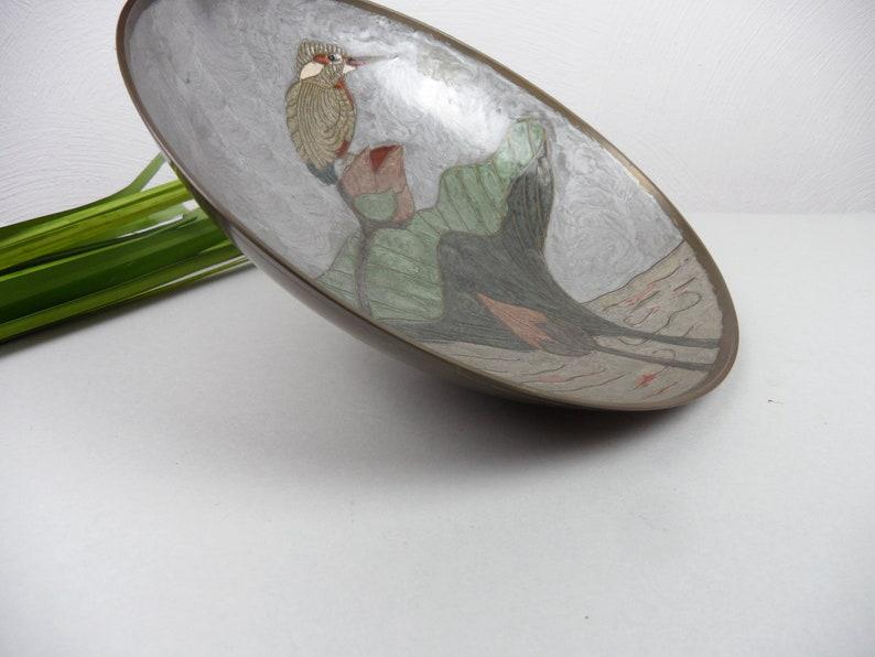 vintage enamel decoration handmade decorative plate brass plate CLOISONN SCHALE with V\u00d6GEL home d\u00e9cor ornamental bowl metal bowl Japan China