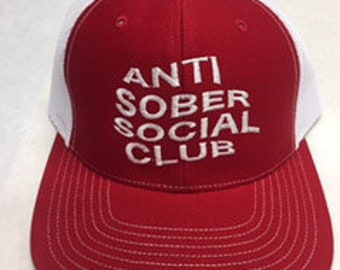 Anti Sober Social Club Embroidered six panel snap back hat cap red white.  ThinkPrintRepeat MN 500.00 7f5a6504078