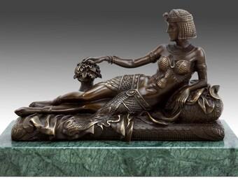 QUEEN CLEOPATRA EGYPT Antique Austria BRONZE Statue Snake