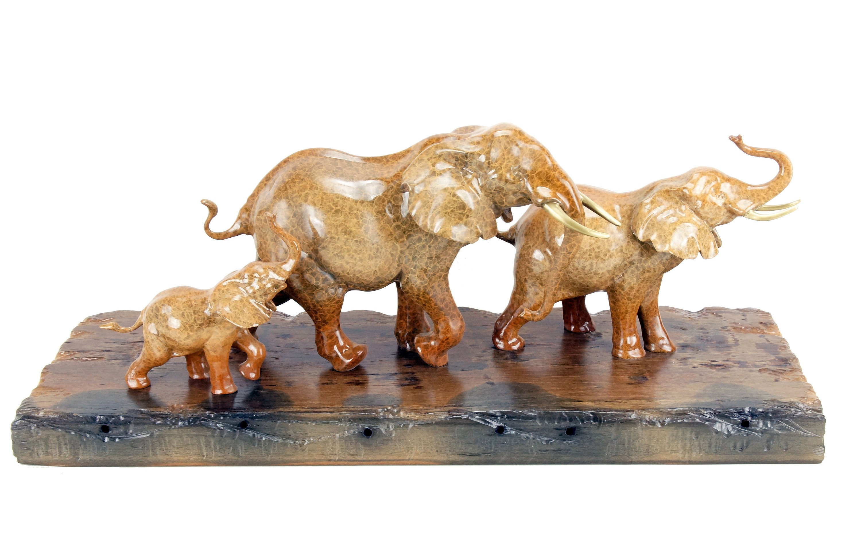 Plank 90 Cm.Bronze Family Of Elephants On Ship Plank Width 90 Cm Animal Figurine By Milo