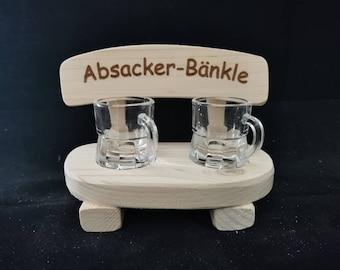 Absacker Bänkle Schnapsbank mit Gläsern Weihnachtsgeschenk Wichteln Wichtelgeschenk