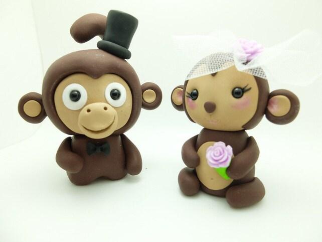 Funny Wedding Cake Figurines Monkeys Newlyweds