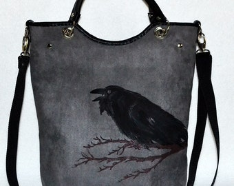 8df19cdb8ad7ae Rock bag, shopper bag, painted Raven , super suede bag , gothic bag, gothic  style