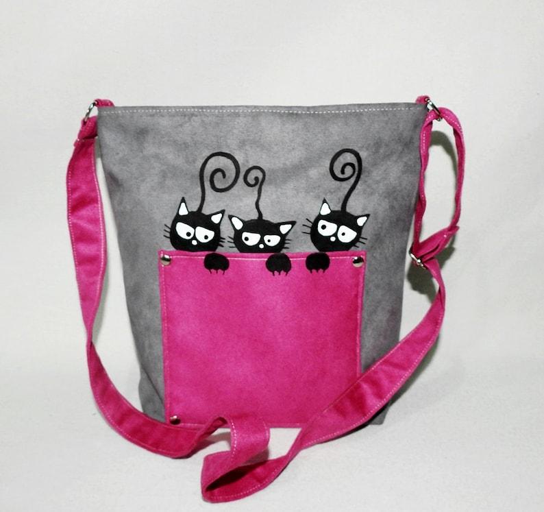 22828b3a26cc7 Kolorowa listonoszka z kotkami dla dziewczynki / malowane koty | Etsy