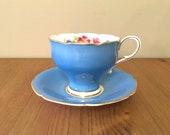 Paragon Tea Cup and Saucer Blue Bone China