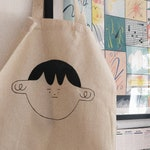 Hand Painted Character Tote Bags ~ Reusable Organic Cotton Totes