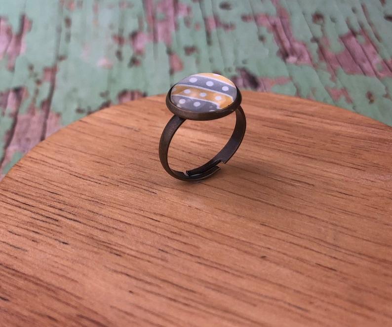 Yellow grey geometric ring Antique bronze adjustable ring