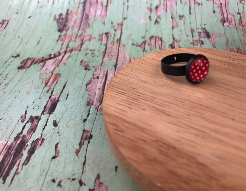 Red polka dot ring Minimalist ring Adjustable Gift for her