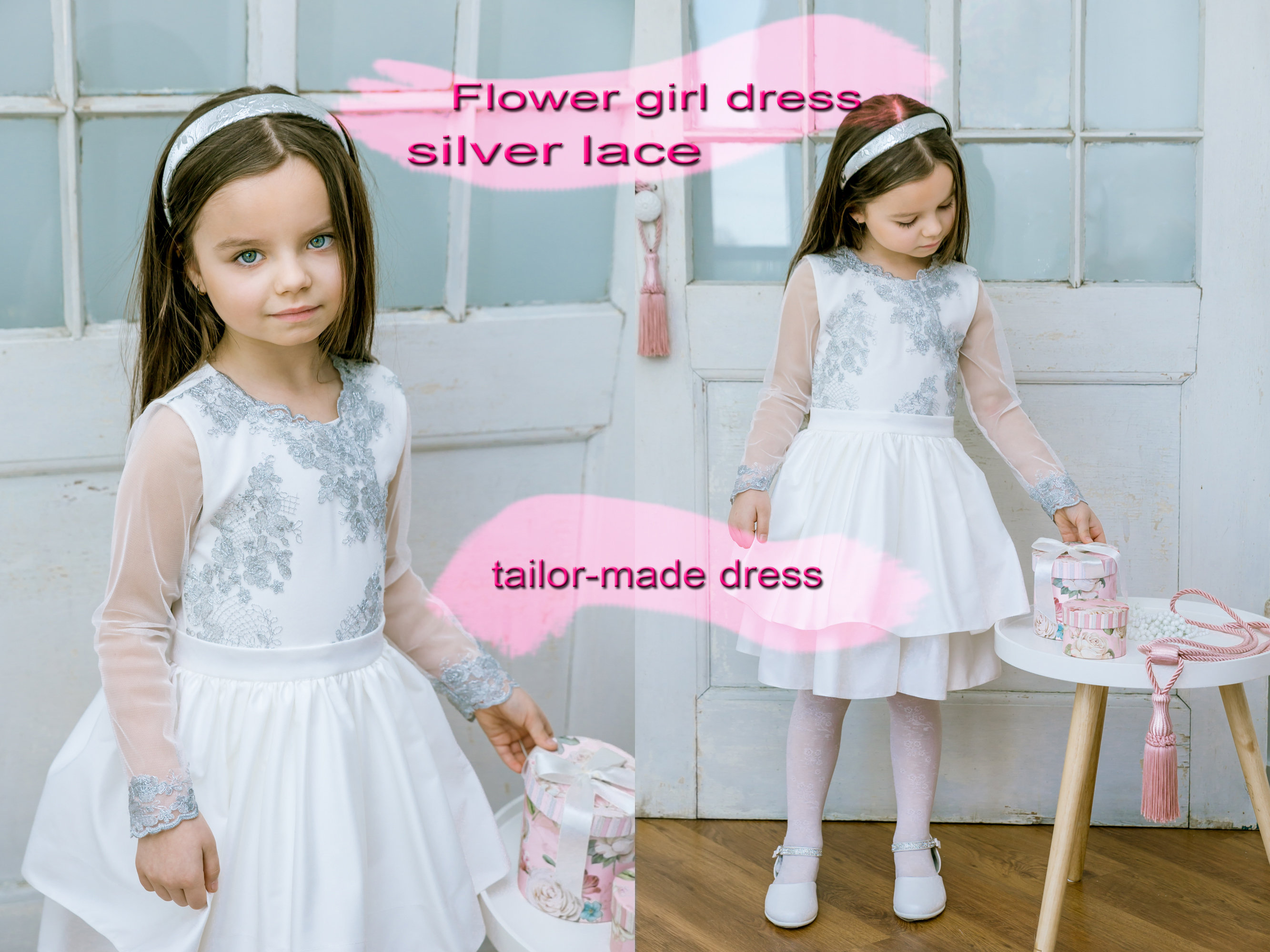 380ee1730b6 Silver Lace Flower Girl Dresses