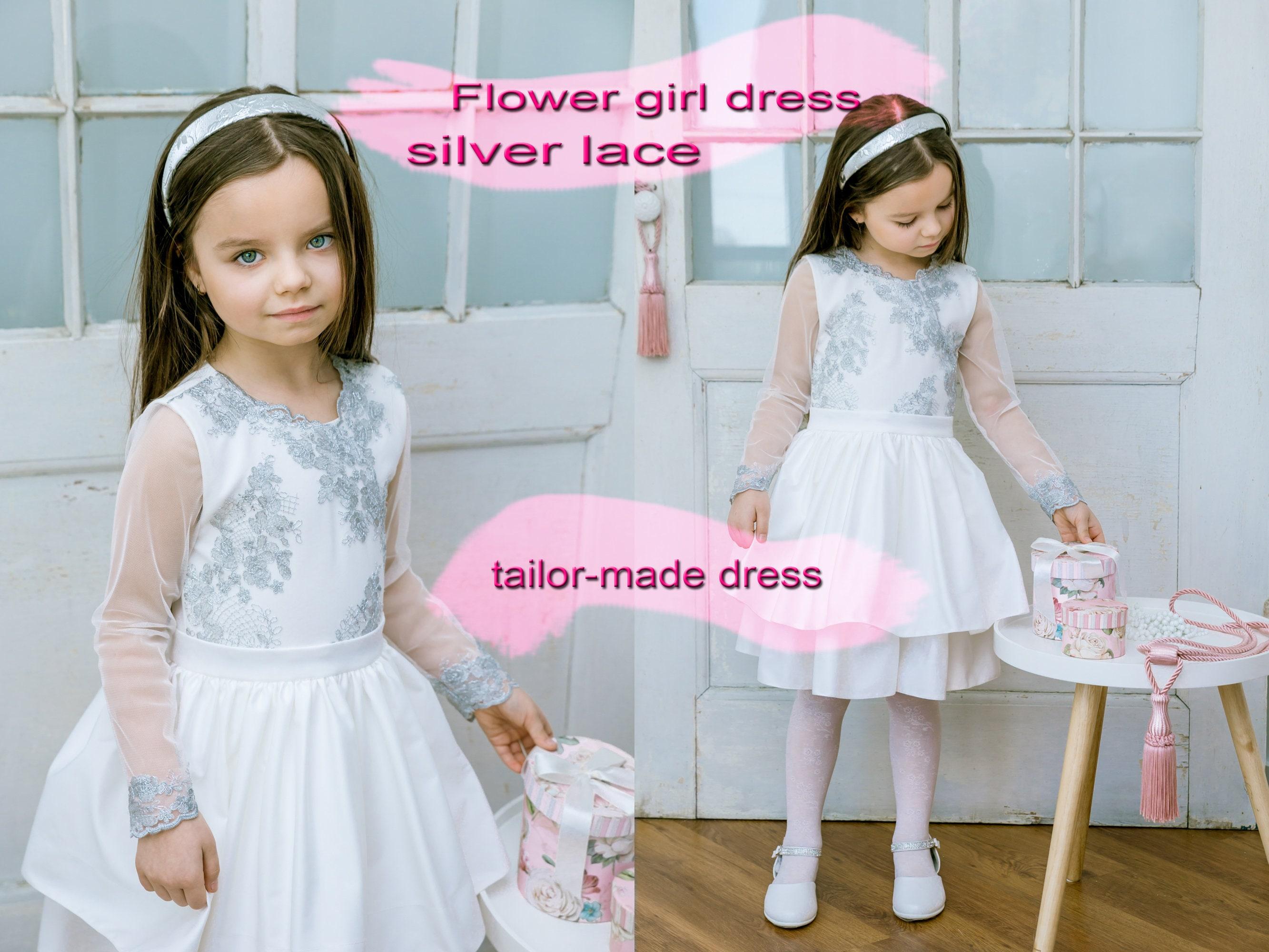 8e74e611b6b9 Silver Lace Flower Girl Dresses
