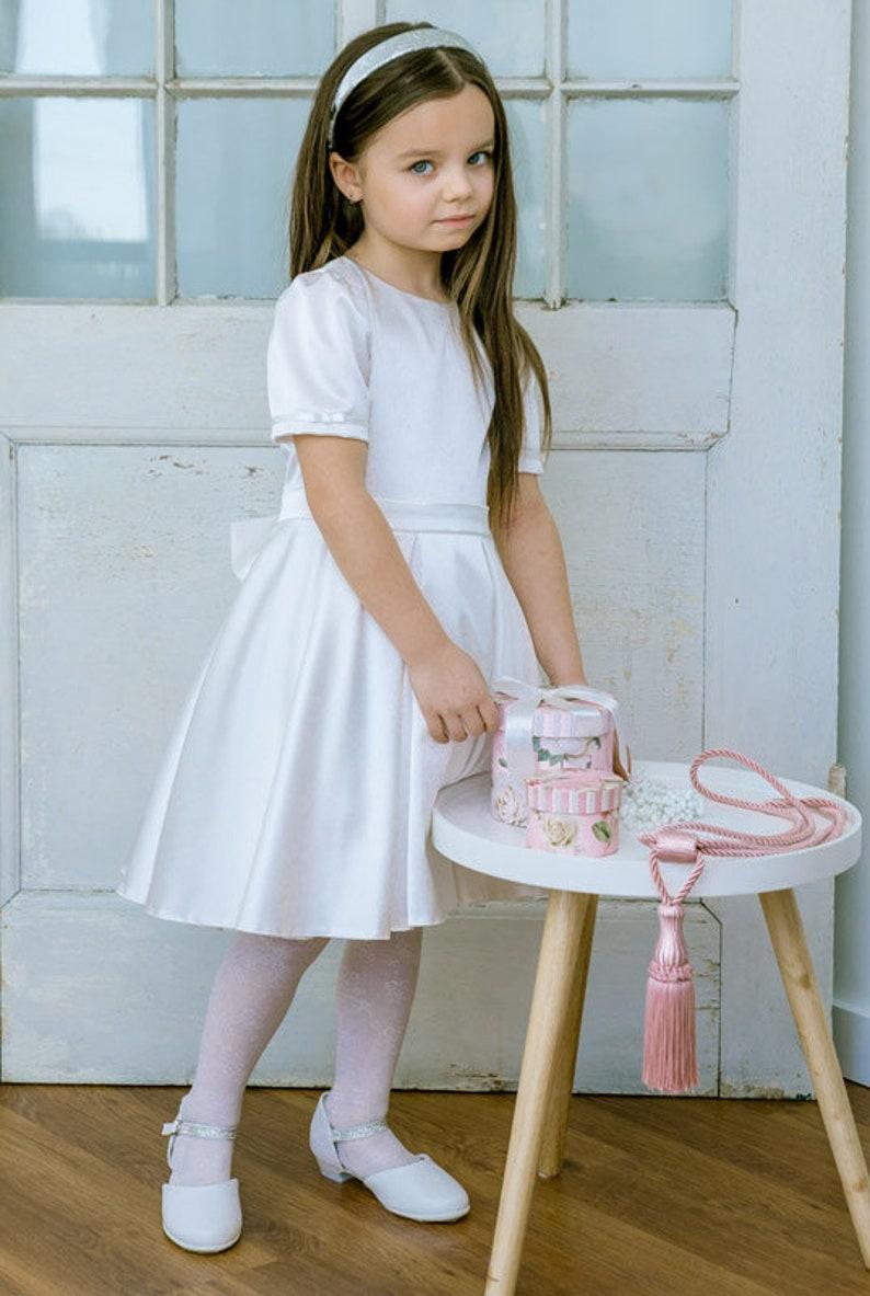 256cd1ac33 Sukienka na chrzest urodziny wesele dziecięca kokarda
