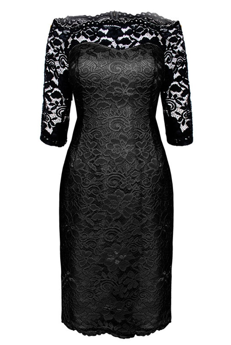 5a8b836f89 Koronkowa prosta sukienka z dekoltem z rękawem granatowa