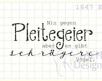 Text stamp PLEITEGEIER